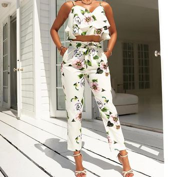 Backless Spaghetti Strap Ruffle 2 Piece Floral Jumpsuit