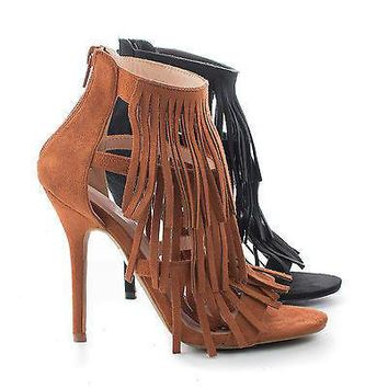 Adele177 By Wild Diva, Strappy Layered Fringe Stiletto Heel Sandals