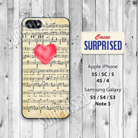 Heart, Sheet, Music, iPhone 5 case, iPhone 5C Case, iPhone 5S case, Phone case, iPhone 4 Case, iPhone 4S Case, Phone Skin, hms01