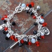 Made-to-Order SF Giants Baseball Themed Silver Plate Charm Bracelet with Preciosa Crystal and Antique Silver Charms // Other Teams Available