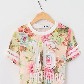 womens HARAJUKU number 16 print full-body watermelon flower large stripe pattern short design Women's tops short-sleeve T-shirt (Size: M)