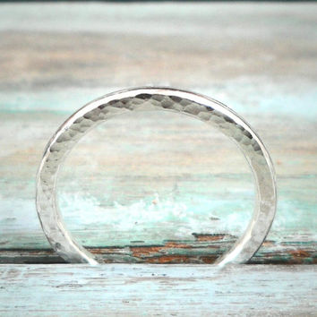 Sterling Silver Stacking Ring, Hammered Texture, Modern Design
