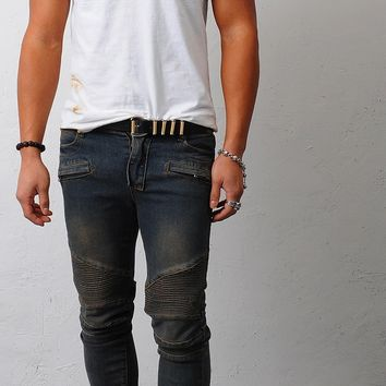 Mens Semi Baggy-Skinny Real Biker Jeans at Fabrixquare