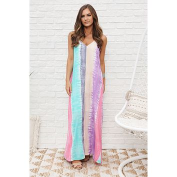 Color My Day Maxi Dress (Grey/Mint Multi)