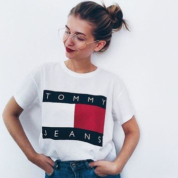 """Tommy Jeans"" Women Casual Letter Multicolor Pattern Print Round Neck Short Sleeve T-shirt Tops"