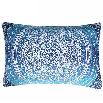 Moroccan Pillow Case Crystal Arrays Blue Bedclothes Mandala Printed Pillowcase 1Pc