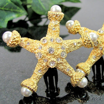 Vintage CRAFT RHINESTONE STARFISH Earrings Faux Pearl Designer Signed Gold Tone Clip
