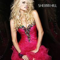 Sherri Hill 2912 Fuchsia/Multi Ruffled Mini Party Dress Prom 2012 Sz 4 New NWT