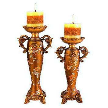 Candle holder set Victorian Rose