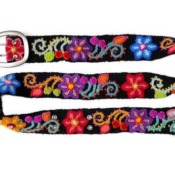 Wool embroidered belt Black, Brights On Green Purple, handmade belt, floral belts, colorful belts, accesories woman, wool belts