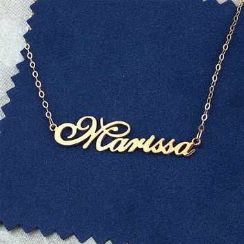 Name necklace, rose gold name necklace, personalized nameplate necklace, custom necklace, name jewelry, birthday gift, font necklace