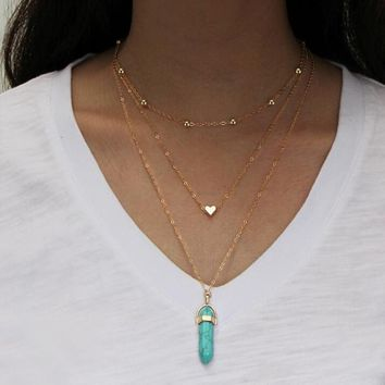 Natural Stone Heart Layered Gold Tone Necklace for Women