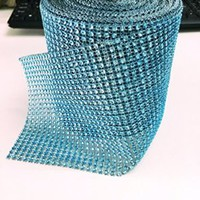 DIY Jewery Accessory 10yd Color Diamond Rhinestone Ribbon Wrap Bulk - Wedding Decorations, Party Supplies (turquoise)