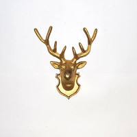 White Faux Taxidermy - Gold Cast Iron Deer Head Wall Hanging - Chic and Trendy Home Decor
