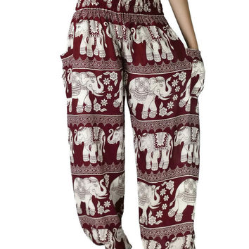 Unisex Thai Elephant Pants,Aztec Ethnic Print Aladin Pants,Harem Pants,Yoga Pants Baggy Boho Style Hippie Gypsy Beach Women Casual Crimson