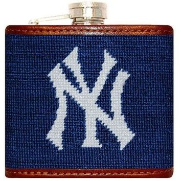 Yankees Needlepoint Flask in Navy by Smathers & Branson