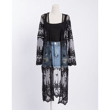 Lace Sheer Cardigan Duster