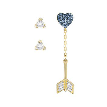 Swarovski Earrings Set Jacket Pierced Earrings GOOD Blue Heart, Gold -5265704