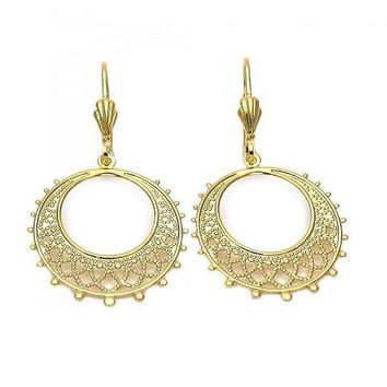 Gold Layered 5.105.007 Dangle Earring, Filigree Design, Matte Finish, Gold Tone