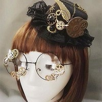 DCCKH6B Novelties Steampunk Victorian Gears Mini Top Hat Costume Hair Accessory Handmade With Steam Punk Gear Glasses