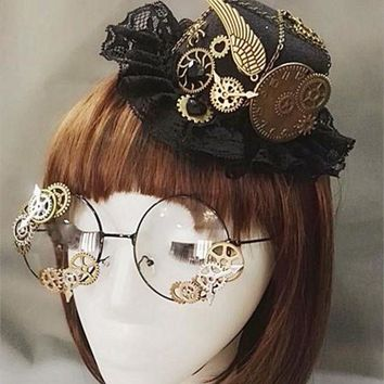 ONETOW Novelties Steampunk Victorian Gears Mini Top Hat Costume Hair Accessory Handmade With Steam Punk Gear Glasses