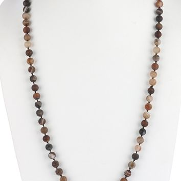 Gray Long Natural Stone Bead Necklace
