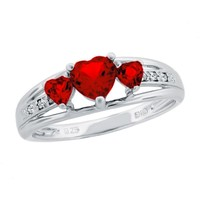 Created Ruby Heart Sterling Silver Diamond Accent Birthstone Ring -...