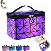 PU women make up bag fashion travel organizer cosmetic bag professional makeup case suitcase toiletry bag pouch beauty case