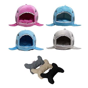 Shark Dog Beds Warm Soft Dog House With Dog Sound Chew Toy Pet Sleeping Bag Dog Kennel Beds For Cat House Nest Mat Pet Product