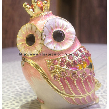 Small Owl Trinket Box Metal Craft Animal Owl with Crown Figurine Home Decoration Art Collectible Owl Souvenir Magnet Trinket Box