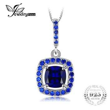 JewelryPalace Fashion 1.96 ct Square Created Sapphire & Blue Spinel Necklaces & Pendants 925 Sterling Silver Chain Brand Jewelry