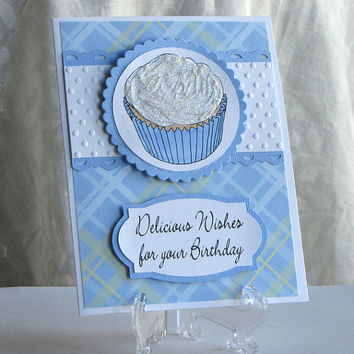 Cupcake birthday card, birthday, cupcake, handmade, greeting card, glittered, blue plaid, boy card, birthday wishes, hand colored