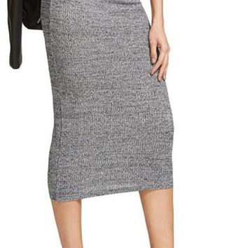 Brief Knit Pencil Skirt Women Heather Grey Elegant Slim Ribbed Midi Skirts Spring Fashion High Waist Office Skirt