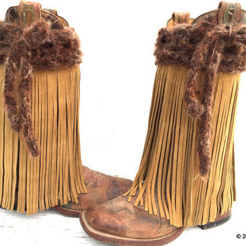 Fringe Leather Boots, Handmade Fringe Boot Covers, Buckskin Fringe, Buckskin Fringe Boots, Buckskin Boot Covers, Cowgirl Boot Covers,