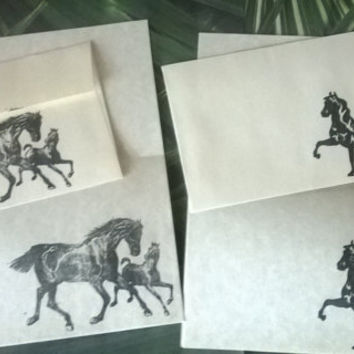 Horse theme stationery Set 1 5 10 parchment paper letter writing and envelope Equestrian Pony Equine Lover Colt Stallion hand stamped