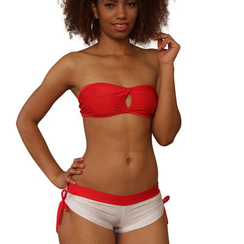 Cheeky White & Red Tie Side Shorts- Sassy Assy