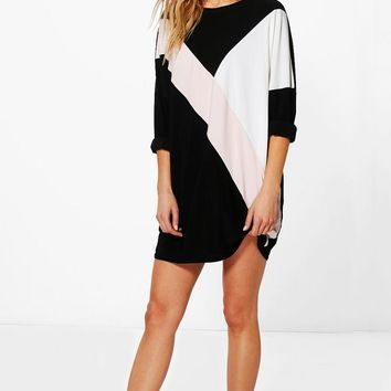Ziggy Colour Block Shift Dress | Boohoo