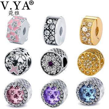 V.YA Valentine's Jewelry Women's Beads fit for Pandora Jewelry DIY Bracelets Necklaces Bangle Girl's Woman's Round Bead Charm