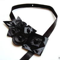 All Black Geometric Leather Bib Necklace - Leather Squares, Leather Circle, Leather Collar, Luxurious