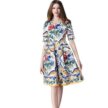 Clobee Hippie Chic Spring Dress 2017 Wimen Luxury Flower Print Runway Dresses High Quality Spring Summer People Mexican Dresses