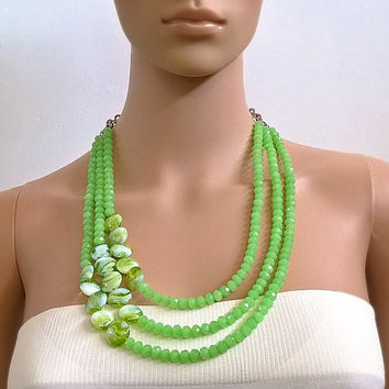 Green Multistrand Necklace Statement Necklaces For Women Boho Layered Necklace Beaded Chunky Jewelry Gift for her Bridesmaid Handmade