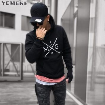 Solid Color Patchwork Warm Hoodies Men Long Sleeve Casual Sweatshirts Male Pullover Tracksuit Men Tops
