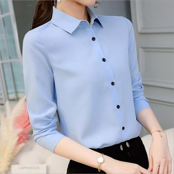 New Korean Casual Chiffon Blouse Long Sleeve Elegant Women Tops Women Clothes Slim Women Streetwear Blue White Shirt