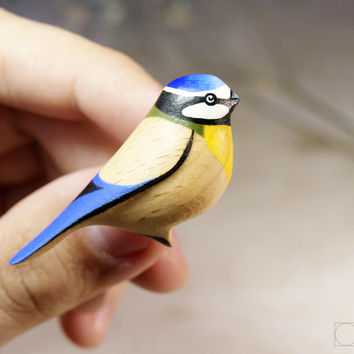 Wood brooch Blue tit - Bird Pin - bird brooch - bird jewelry- Wood Crafts Hanging Bird- Handmade - Gift British Birds Best Friend Gift