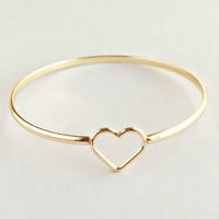Amore Golden Heart Bangle