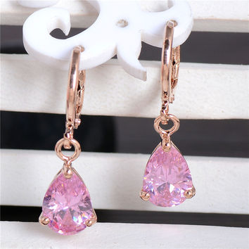 H:HYDE Nice Shipping 1Pair Gold Color Charming Waterdrop CZ Cubic Zirconia Womens Dangle earrings
