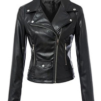 Streetstyle  Casual Alluring Lapel With Zips Motorcycle Jacket