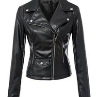 Casual Alluring Lapel With Zips Motorcycle Jacket