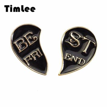 Timlee X290 New Creative Half Heart Enamel Pin Partners Metal Brooch Pins Best friend Letter Gifts