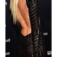 Black Brown Shiny Glittery V-Neck Long Sleeve Open Back Bodycon Fitted Mini Dress